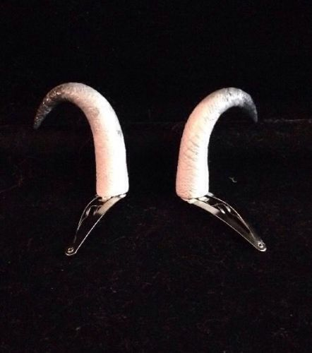 White and Black Tipped Little Curled Clip Horn Barrettes, Artisan Made
