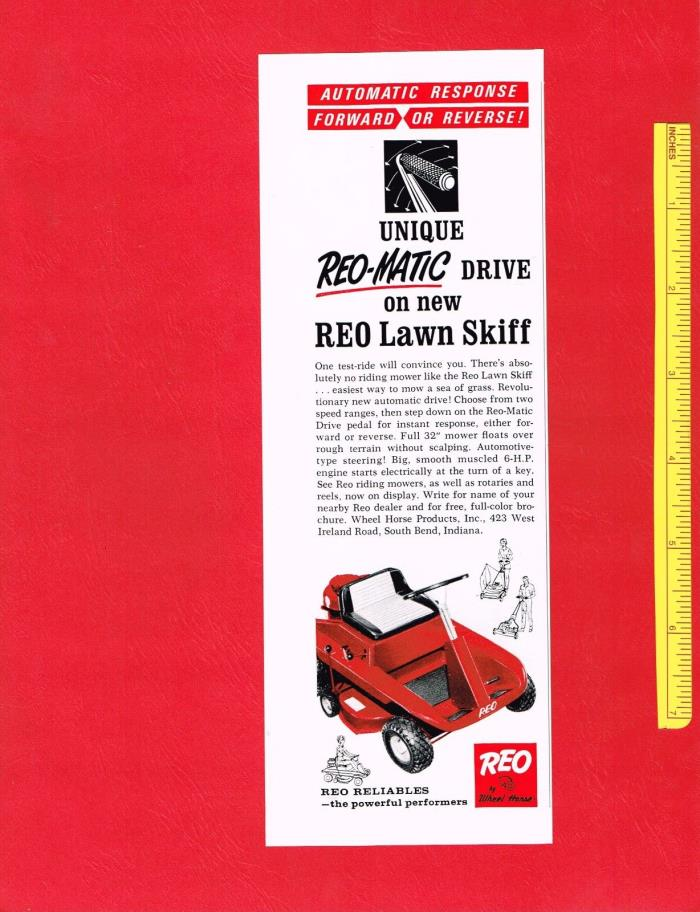 Vintage 1965 REO by WHEEL HORSE LAWN SKIFF RIDING MOWER Original Print Ad