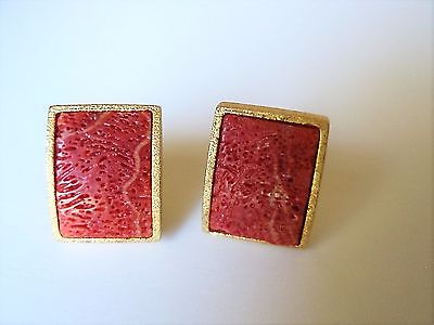 Vintage Sterling Silver / Gold Plated Red Sponge Coral Posts