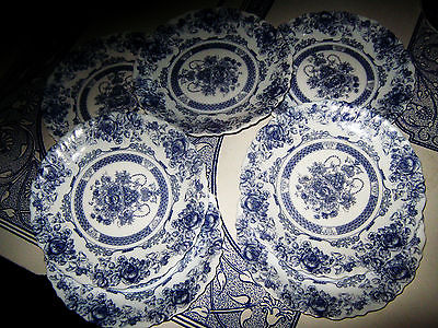 Arcopal France Honorine Blue & White salad plates, Set of 7, excellent cond.
