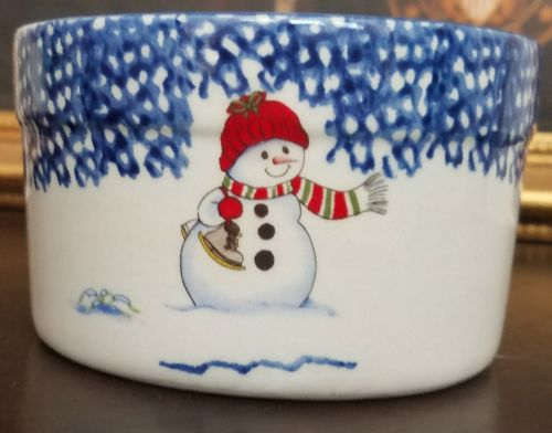 Thompson Pottery Snowman Pattern Ramiken HTF