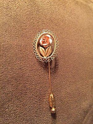 Vintage Gold filled rose motif stick pin