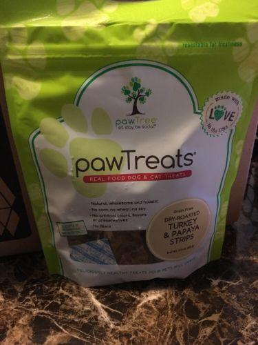 pawTree PawTreats - Dry Roasted Turkey And Papaya Strips NEW  Dogs & Cats Treat