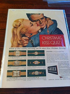 Vintage 1945 Gruen Watch Christmas Kiss Quiz Print ad
