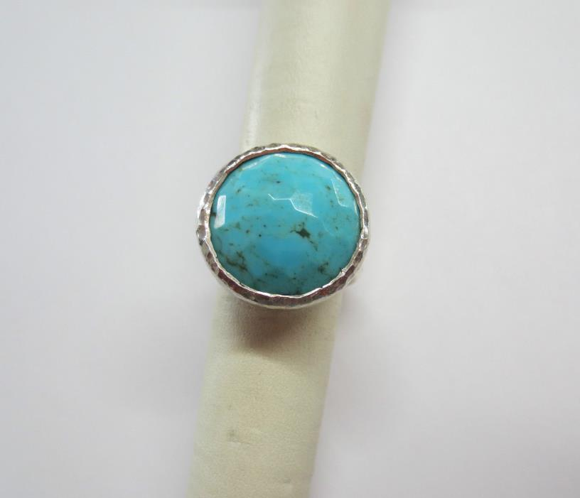 IPPOLITA ROCK CANDY Turquoise Hammered Sterling Silver Ring 13.3 grams