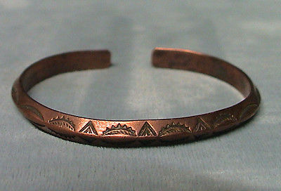 Vintage South Western Style Copper Bracelet Adjustable Symbols