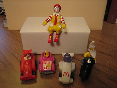 McDONALDS UNDER 3 KIDS MEAL TOYS LOT OF 5  cars, motorcicle & Ronald McDonald