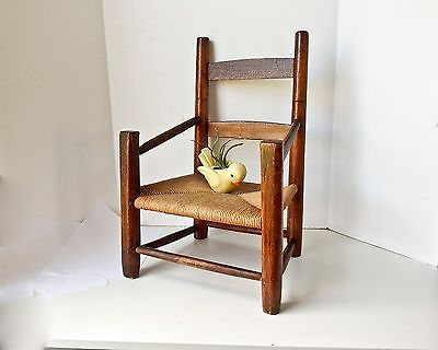 Child Chair, Vintage Children Chair, Hand Made Chair, Rush Seat Toddler Chair
