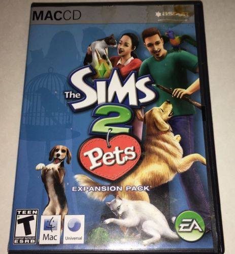 The Sims 2: Pets w/ Manual MAC CD dog cat bird gerbils adopt animal game add-ons