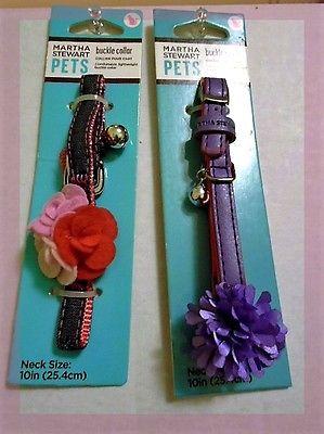 2 Martha Stewart Cat Collars ~Purple Lilac PomPom~3 Pink Flowers & denim