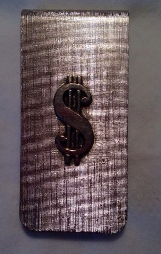 Money Clip Silver type Metal Dolllar Sign on front-Vintage item