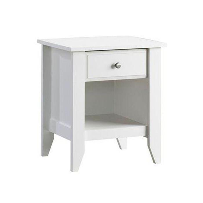 SAUDER White Stylish Soft Nightstand Drawer Attractive Bedroom Siding Furniture