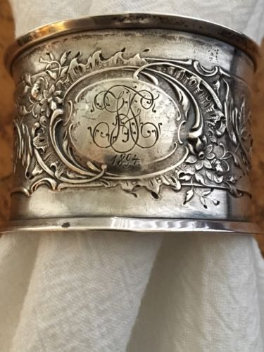 ANTIQUE .800 STERLING SILVER NAPKIN RING MONOGRAMMED INITIALS 1894
