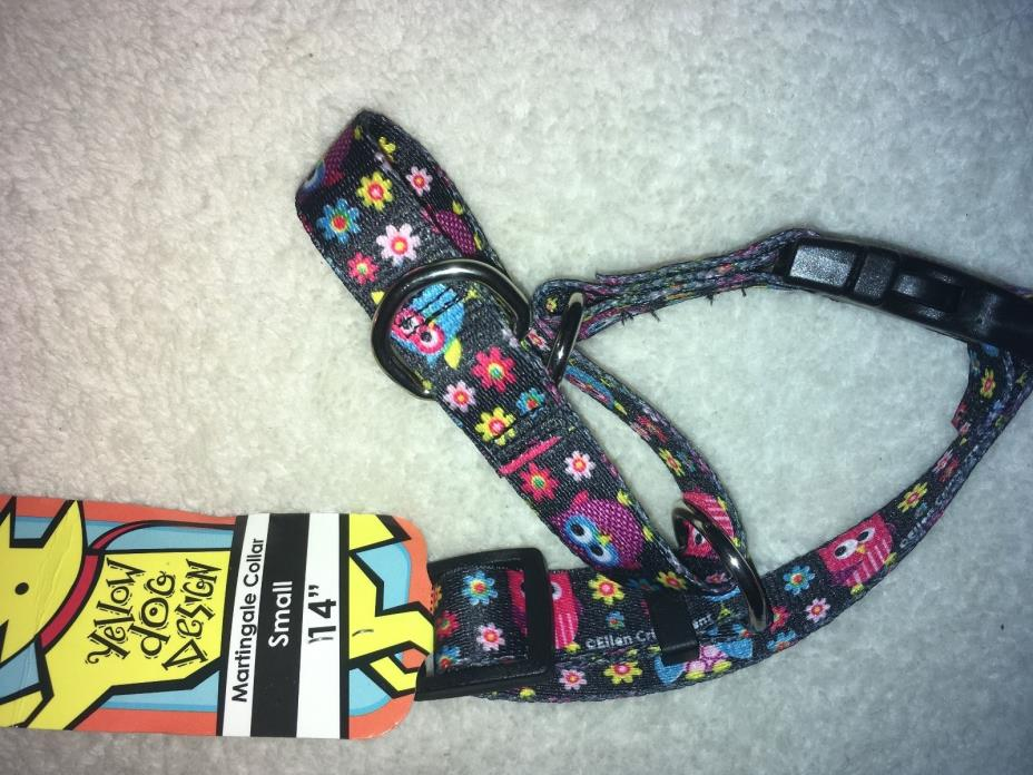 Owls and Flowers Martingale Dog Collar by Yellow Dog Design, Small 14