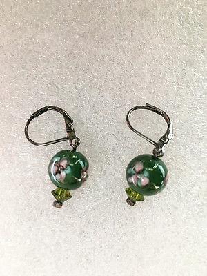 FLowery Jade Green Earrings