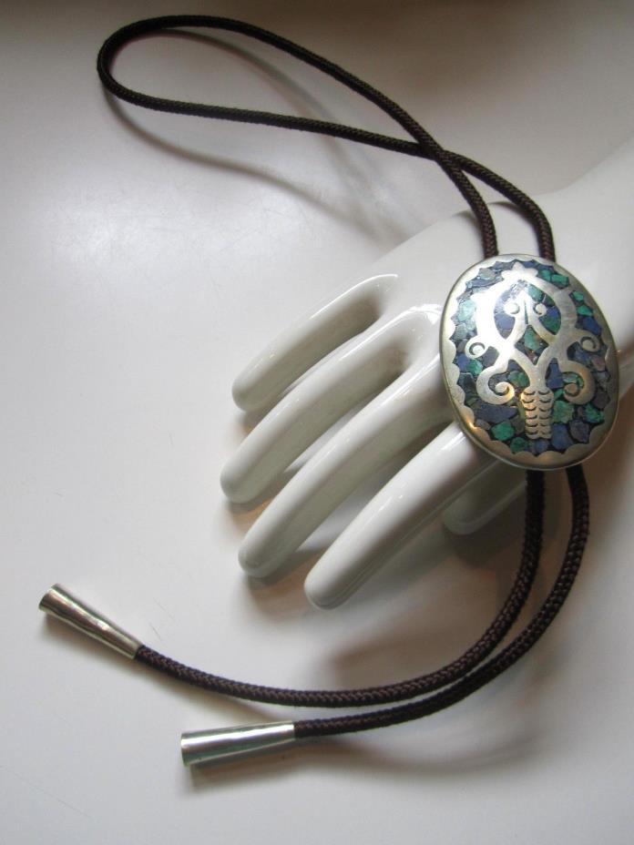Alpaca Silver Mexico Turquoise Lapis Brown Nylon Cord Bolo Tie