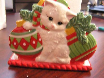 FITZ & FLOYD NAPKIN HOLDER  KITTEN CAT CHRISTMAS NIB LETTER HOLDER CARDS