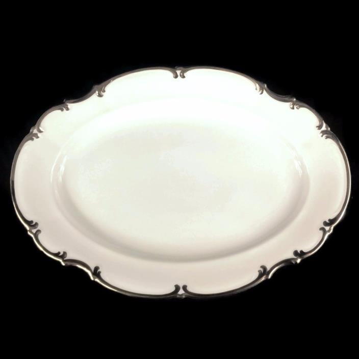 Hutschenreuther Selb Sylvia Revere Pasco White Platinum Trim Serving Platter 15