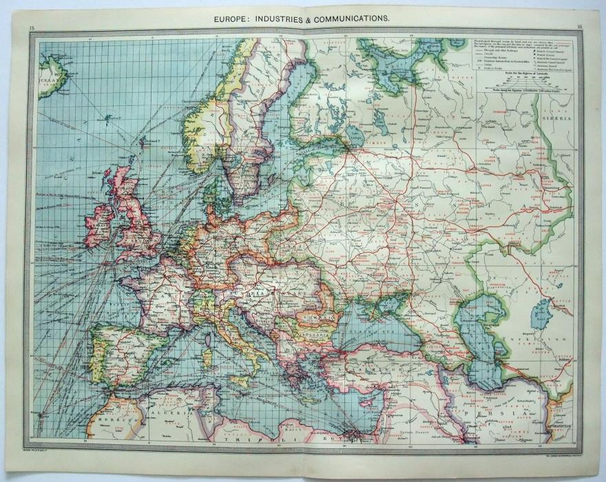 Original Map of Europe: Industries & Communication by George Philip & Son c1906
