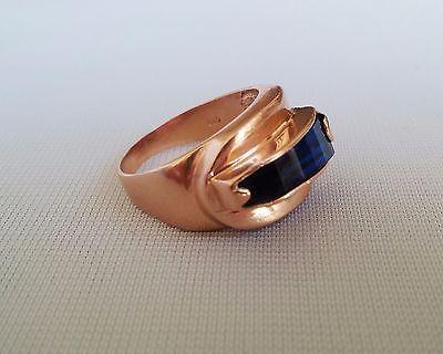 Vintage 14K Rose Gold Blue Sapphire Men Ring Signed Coskun Size 8