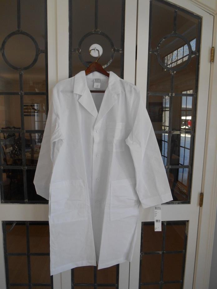 Brand New META Men's Traditional Long White Lab Coat Size 48 XL