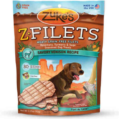 Zuke's Z-Filets Select Grain Free Dog Treat Grilled Venison 3.25 oz.