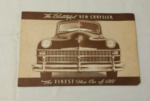 Original Chrysler 1946 Auto Literature Brochure ORIGINAL PRINT