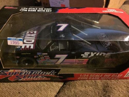 Racing Champions NASCAR 1:24 Geoff Bodine #7 Exide 1995 Truck Bank Unopened