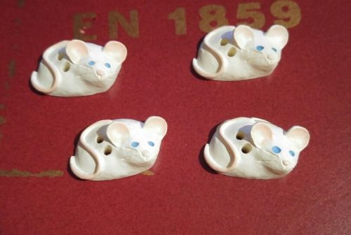 Vintage White Mice Mouse Blue Eyes Pink - 4 Buttons - New Old Stock