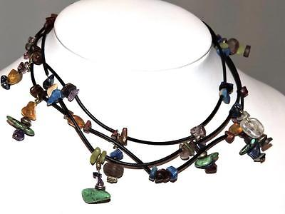 VINTAGE SOUTHWESTERN NECKLACE MULTI STAND TURQUOISE AGATE AMBER LAPIS AMETHYST