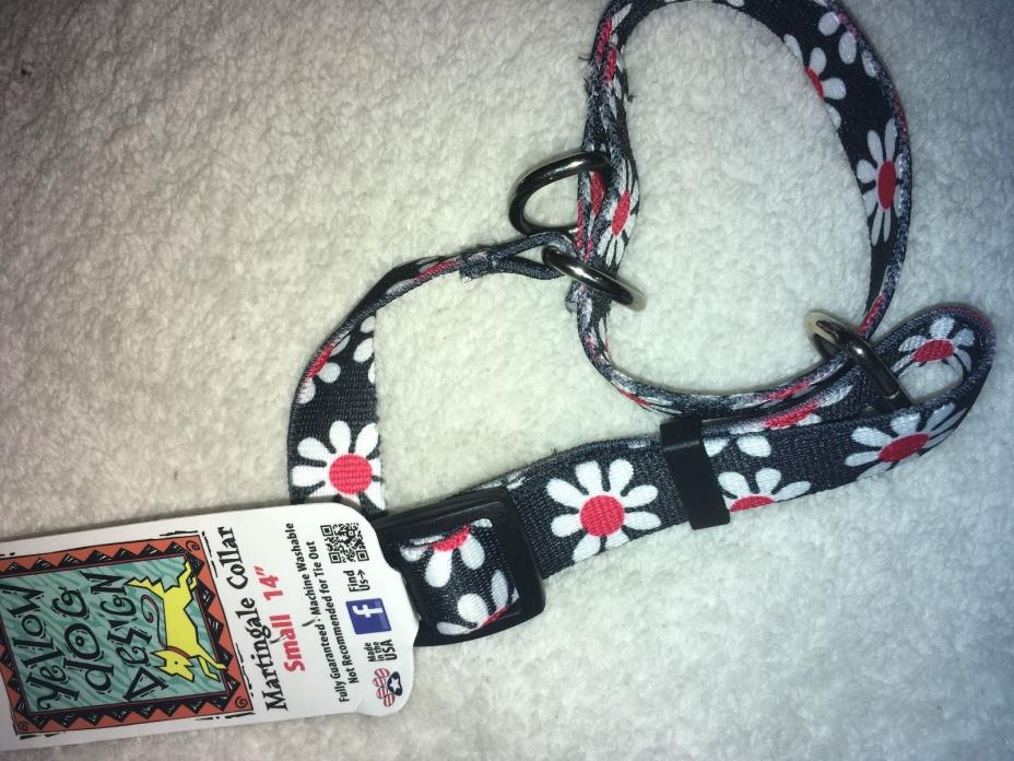Red White and Blue Daisy Martingale Dog Collar by Yellow Dog Design, Small 14