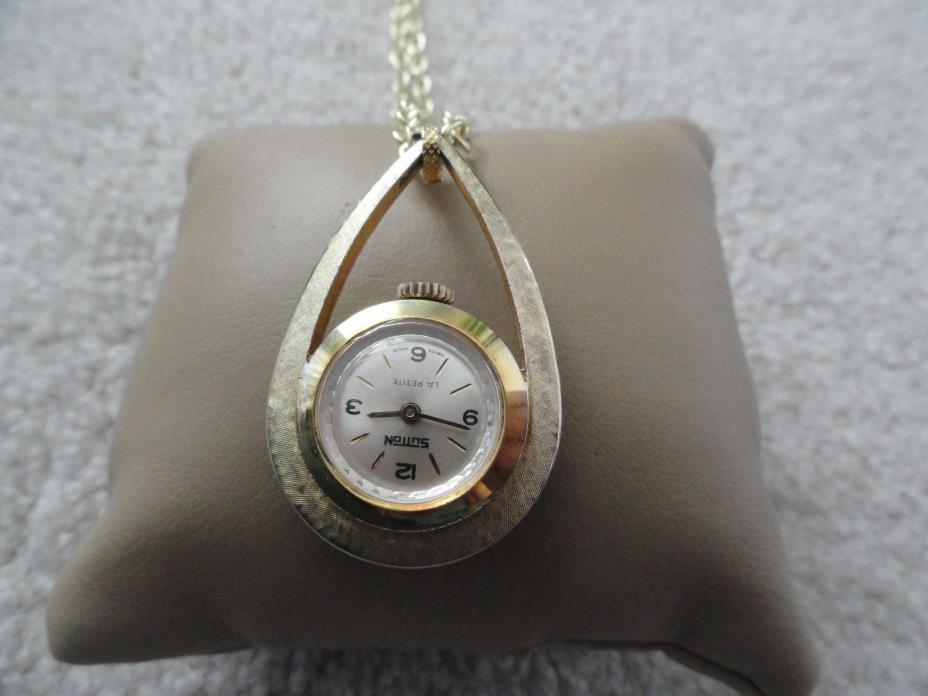 Vintage Swiss Made Sutton La Petite Wind Up Necklace Pendant Watch