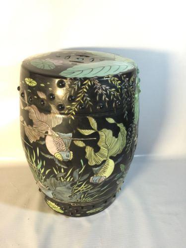 Japanese Garden Stool Indoor Outdoor Ceramic Koi Pond Asian Theme Patio Stand