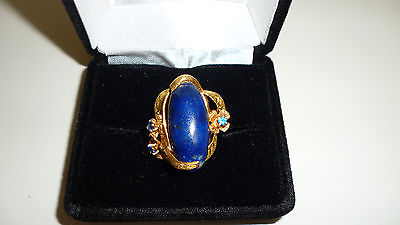 Antique handmade 14k yellow + rose gold flower lapis ring