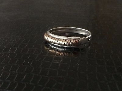Vintage Sterling Silver .925 Brass Mixed Metals Ring size 9