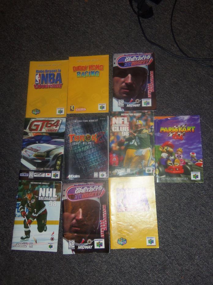 Lot of 10 Nintendo 64 N64 Instruction Manuals Mario Kart Diddy Kong Racing