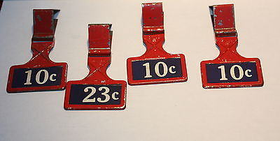 Vintage Red Metal Price Tag Holders Lot Of 4
