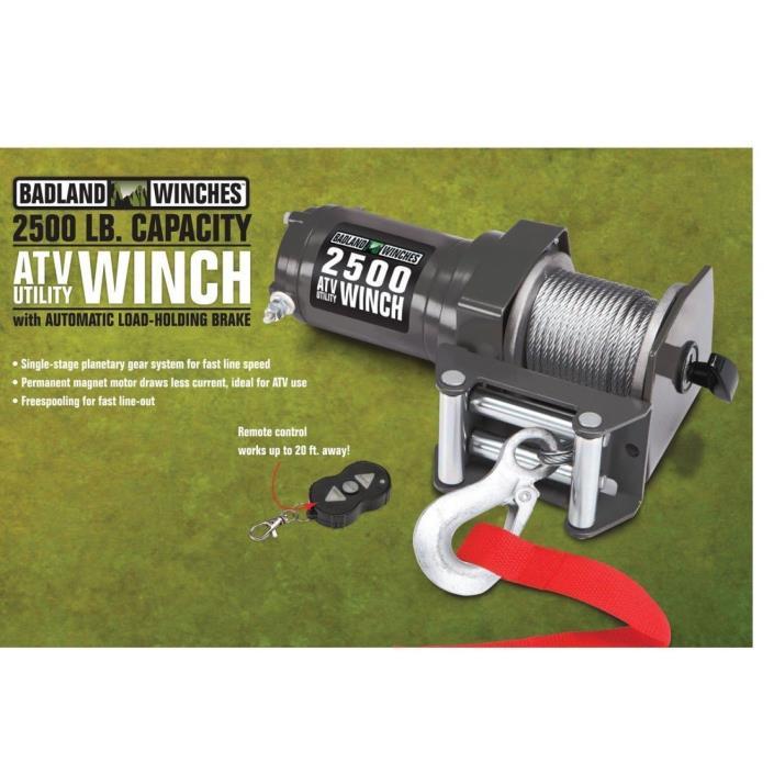 Badland 2500 lb Water Proof 12V Electric UTV ATV Winch Wireless Remote Control