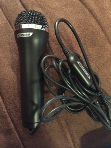 Konami USB Microphone Guitar Hero Rock Band Karaoke Wii PS3 Black Mic