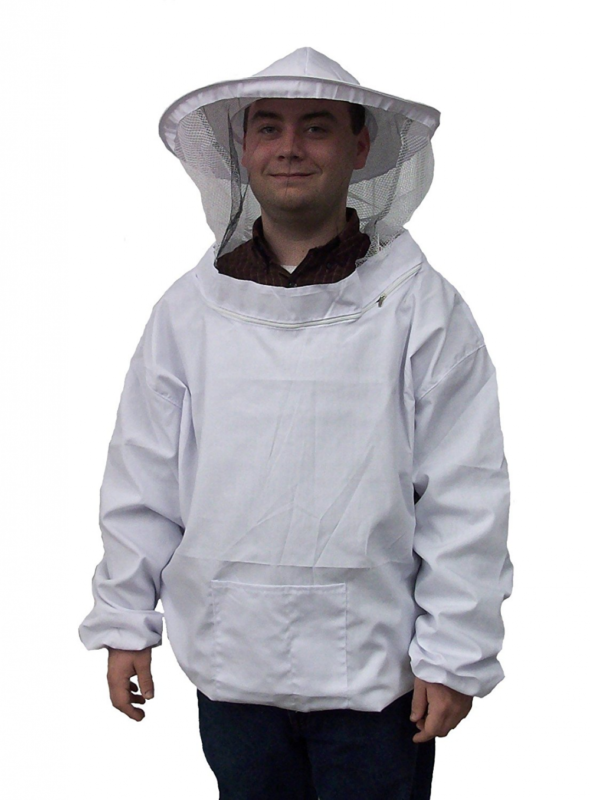 New Professional White Medium / Large Beekeeping / Bee Keeping Suit, Jacket, Pul