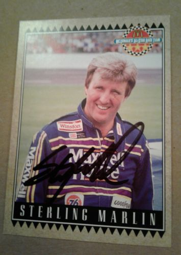 Sterling Marlin autographed trading card/ with COA NASCAR