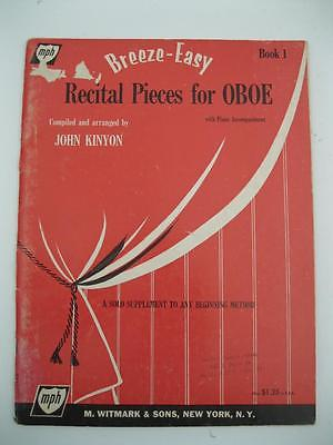 Breeze-Easy Recital Pieces for Oboe by John Kinyon 1957 Solo w/ Piano 32 pages