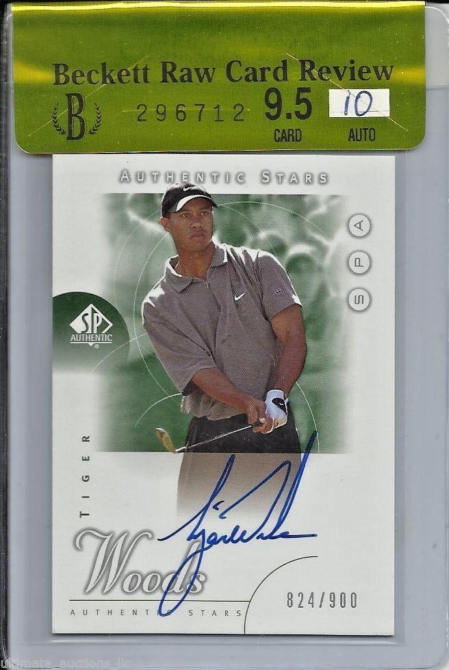 2001 Tiger Woods Upper Deck SP Authentic Golf Autograph RC Card BGS 9.5/Auto 10