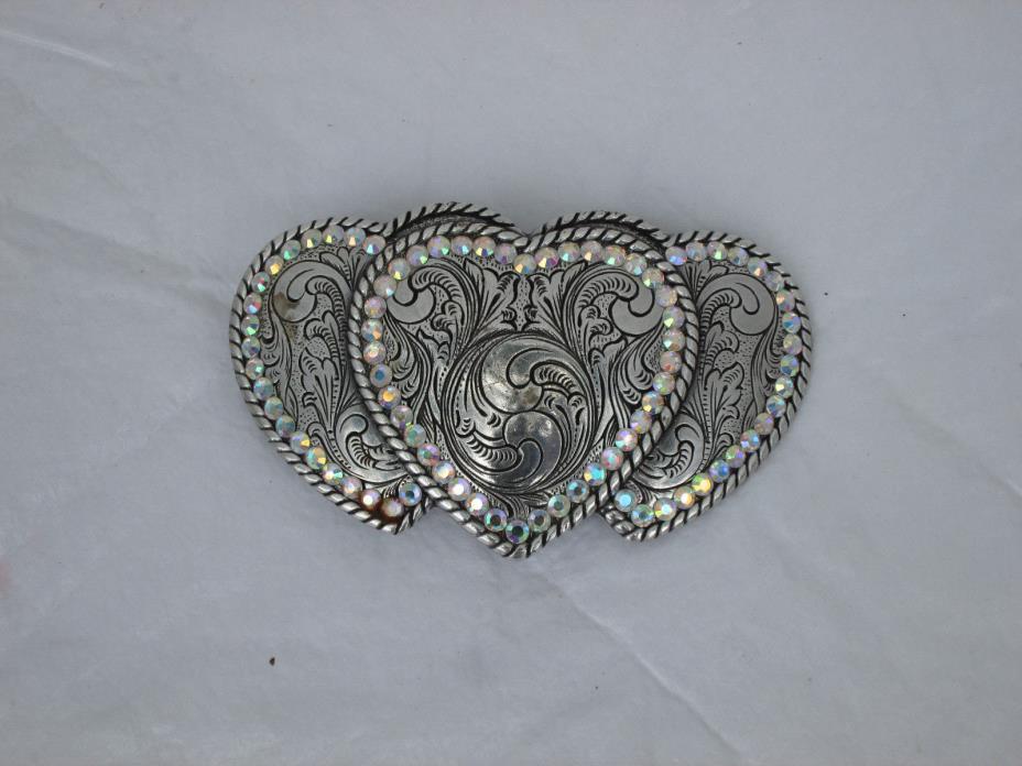 Nocona Three Heart Cowgirls Belt Buckle with Rhinestones