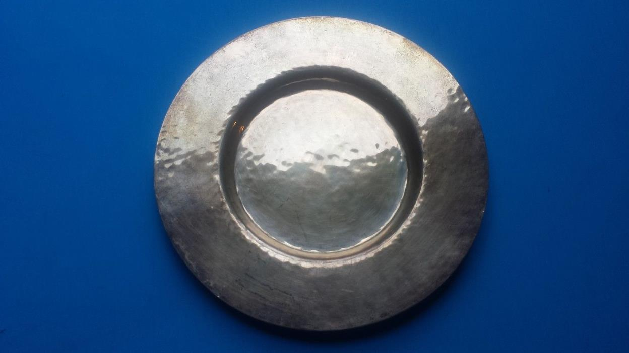 antique-ENGLISH HAMMERED STERLING DISH-2.8 oz-4+3/4