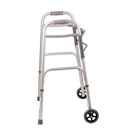 DMI Lightweight Aluminum Folding Walker with Easy Two Button Release, 5 Inch