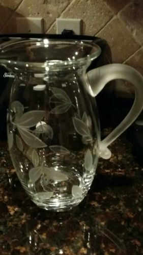Dansk floating leaves crystal pitcher