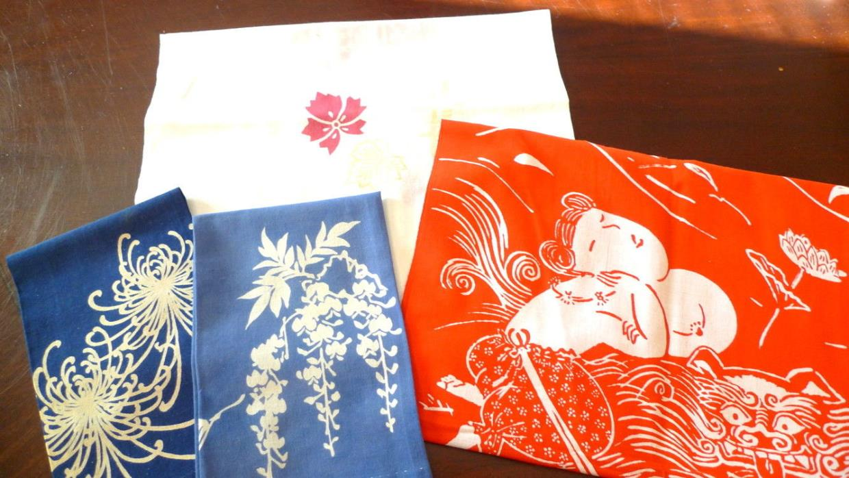 4 Vintage Asian Cotton Textiles Fabric Tea Towels