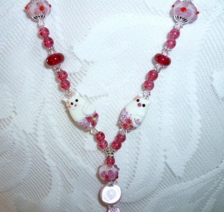BEADED BADGE HOLDER HANDMADE LAMPWORK KITTIES &