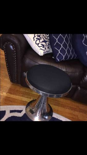 NWT brand New Black And Silver Accent Stool Vanity Round Ottoman Furniture